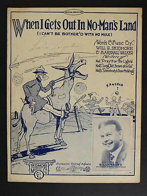 1918 Black Meorabilia Ww I Themed Sheet Music~When I Gets Out In No-Man's Land
