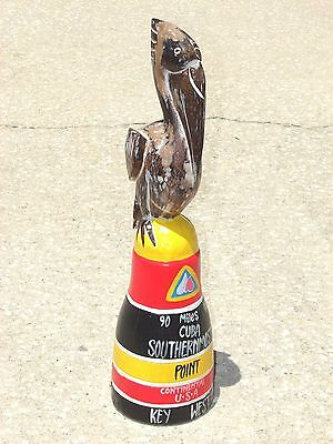 Pelican Southern Most Point Bird Art Hand Carved Wood Home Patio Decor Animals