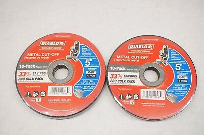 "NEW (2) Diablo DBD050040110F 10-Pack 5"" Metal Cut Off Discs for Angle Grinders"