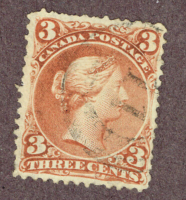 CANADA LARGE QUEEN 25a WATERMARKED BOTHWELL PAPER FINE 11 2-RING CANCEL   (OCR13