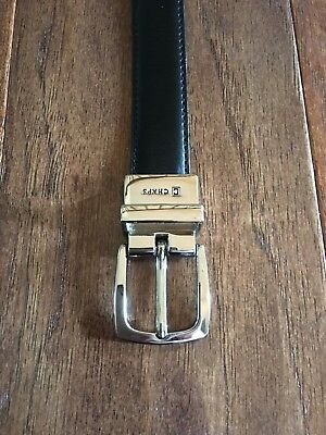 Boys Chaps Reversible Leather Belt Size S 22-24 Inches Black/Brown