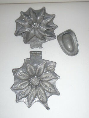 TWO Pewter Ice Cream Molds  POINSETTIA + COWBOY HAT   Great Old Patina for Both!
