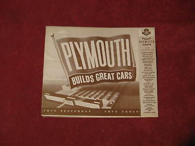 1949 Plymouth Dealership Salesman Showroom Brochure Booklet Old Display Original
