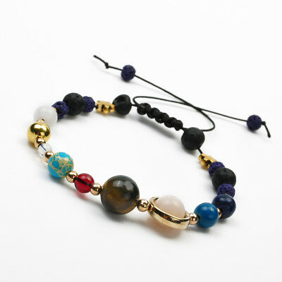 Fashion Bracelet Galaxy Solar System Eight Planets Theme Natural Stone Beaded H7