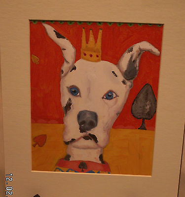 Harlequin Great Dane Caricature With Crown Large Mounted Print