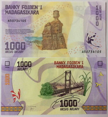 Madagascar 1000 1,000 Ariary 2017 P New Design Unc  = 1 Note Only Nr