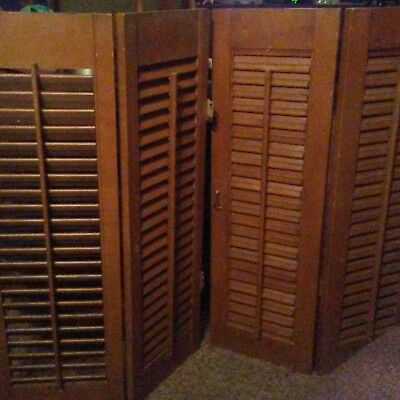 "2  Antique Vintage Salvage Shabby Wood Louvered Shutters  each-28"" X 18"""