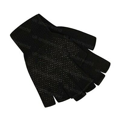 Childrens Boys Girls Black Magic Stretch Fingerless Half Finger Gripper Gloves
