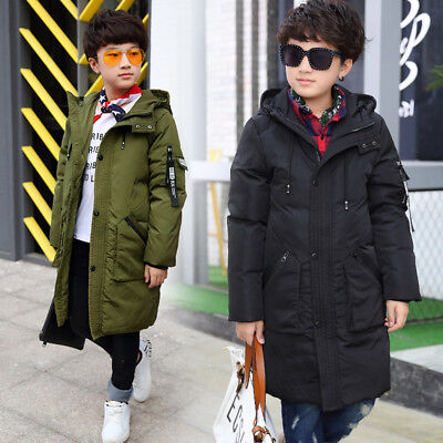 Kids Boys Winter Warm Long Parka Quilted Coat Real Fur Hooded Puffer Down Jacket
