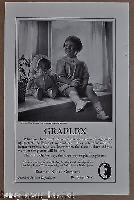 1923 GRAFLEX Camera Advertisement, Eastman Kodak, young girl & doll