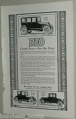 1922 Reo advertisement, Closed Reo Coupe, Sedan, & Business Coupe