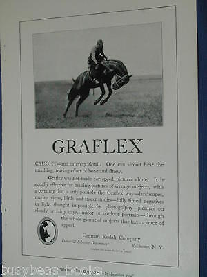 1920 Graflex camera advertisement page, Eastman Kodak, bucking bronco in air