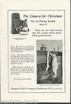 1925 KODAK 1A advertisement, 1A Pocket Kodak hanging stockings on fireplace