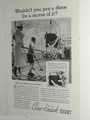 1935 Kodak Movie Film ad, camera shipboard shuffleboard