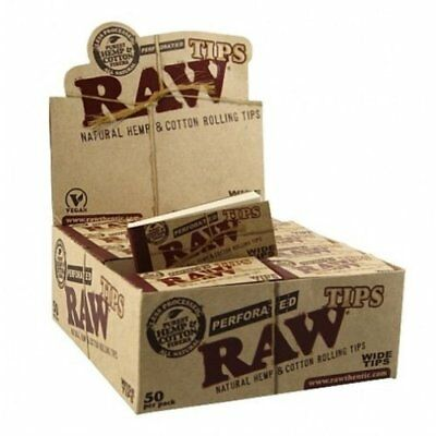 Raw Rolling Papers Perforated Wide Cotton Filter Tips 10 Pack = 500 Tips New