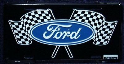 Ford Racing Flags 6 x 12 embossed metal license plate New