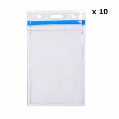 Heavy Duty Vertical ID Badge Card Holders with Zip Lock, PVC Clear Pouch