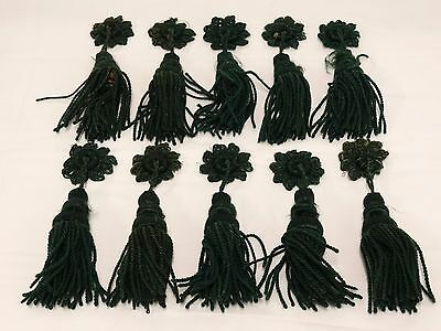 10  Antique Victorian Forest Green Silk Corded Tassels Pulls Trim Fringed