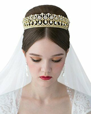SWEETV Royal Pearl Tiara Vintage Rhinestone Crown Bridal Jewelry Wedding Hair