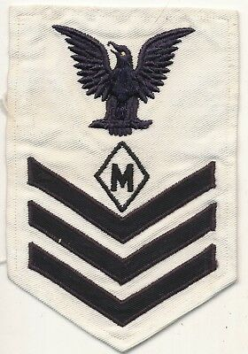 US Navy USN rate rank patch speciality rate M in diamond WWII white PO1 Leona
