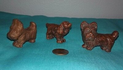 Lot of 3 Different Vintage Brown Wood-Carved Style Resin Miniature DOGS