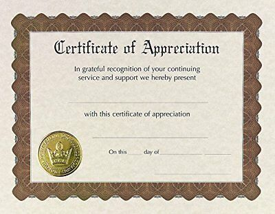 Great Papers! Certificate of Appreciation, Pre-Printed, Gold Foil, Embossed,