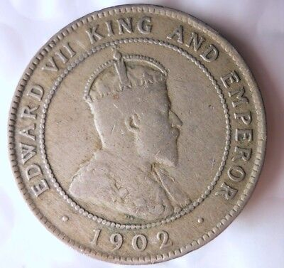 1902 JAMAICA PENNY - Very Low Mintage - Excellent Rare Coin - Lot #N18