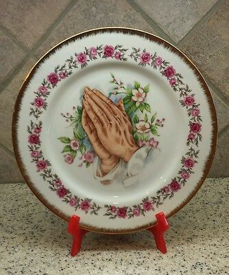 Vintage Praying Hands Collector Plate Brinn's USA -  6T2671 - 10 1/2""