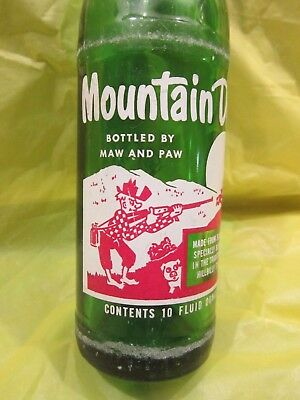 Mountain Mtn Dew Bottled By Maw And Paw 1965 Glass Bottle Retro By Pepsi Cola