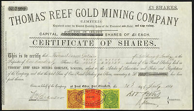 South Africa: Thomas' Reef Gold Mining Co. Ltd., £1 shares, 1889, capital ove...