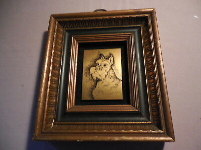 FRAMED COPPER ETCHED SCHNAUZER PICTURE SIGNED JjANET VARNEY 1972 COPPERTOWN USA