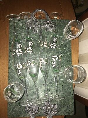 Lot Of 11 Perrier Jouet Crystal Champagne Flutes Hand Blown & Painted