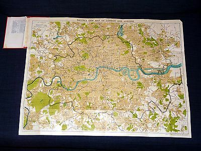 Stadtplan London. Bacon's Gem Map of London and Suburbs. ca 62 x 49 cm. ca 1905