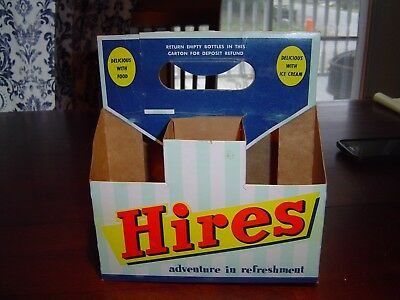 Nice Delicious with drink Hires Root Beer 1950s cardboard bottle carton Carrier