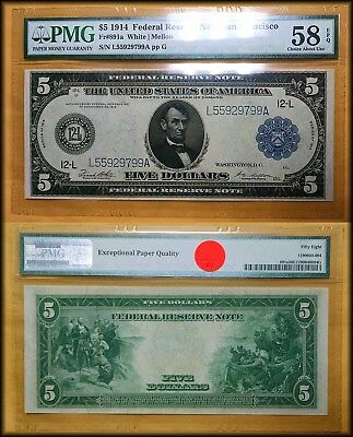 1914 Large Size $5 Federal Reserve Note PMG 58 EPQ Choice AU
