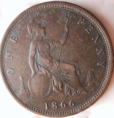 1866 GREAT BRITAIN PENNY - AU DETAILS - Rare Type - Great Coin - Lot #N18