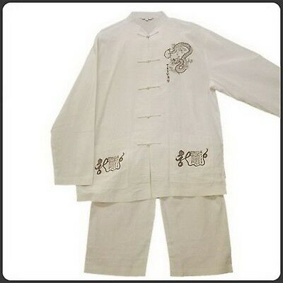 THY COLLECTIBLES Traditional Chinese Embroidered Linen Kung-Fu Suit Dragon...