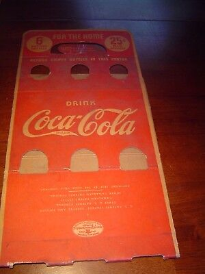 Nice rare 1930s Drink Coca Cola 6 or 25c for the home bottle carton carrier