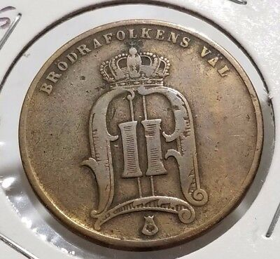 Sweden 1875 5 Ore Good Details Low Grade Coin - C46