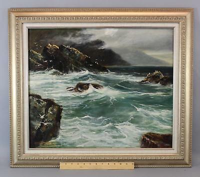 Antique STANLEY WOODWARD Ocean Waves Seascape Oil Painting, Rockport Artist
