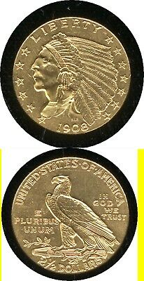 1908 $2.50 Gold Indian- First Year Of Type- Scarce- No Reserve
