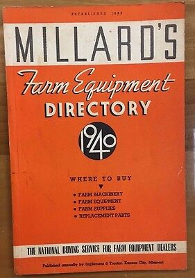 MILLARD'S FARM EQUIPMENT DIRECTORY (1940) 210 pages of vintage agriculture items