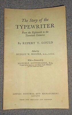 1950 Book-Story of Typewriter-Rupert Gould Publ. In London-Antique History-NR
