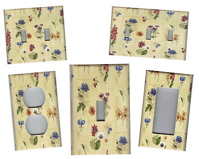 Botanical Flowers On Tan Beige Shabby Chic Home Decor Light Switch Plates