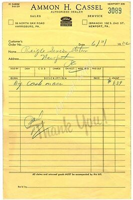 Ford Tractor Equipment Ammon Cassel Harrisburg Newport PA 1962 Vintage Receipt