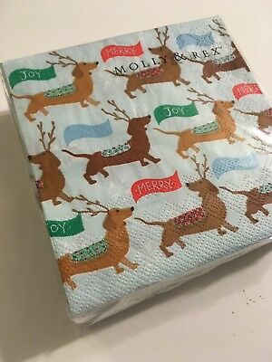 NEW Pack of 40 Dachshund Reindeer Christmas Holiday Napkins Doxie Dog