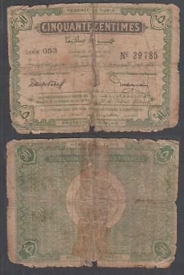 1919 Regence De Tunise French Colonial Tunisia 50 Centimes