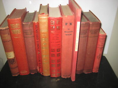 Lot of 11 Decorative Antique Red Maroon Books Home Decor