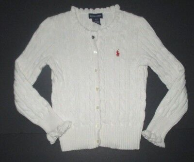Girls Ralph Lauren Ivory Cable Knit Button Down Cardigan Sweater Size 7 Small