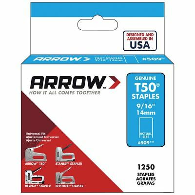Arrow Fastener T50 14mm ( 9/16 inch  ) Flat Crown Staples Box of 1250 #509